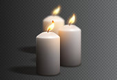 Realistic white candles isolated on checkered background. Vector illustration with 3d burning white candles isolated on checkered background.