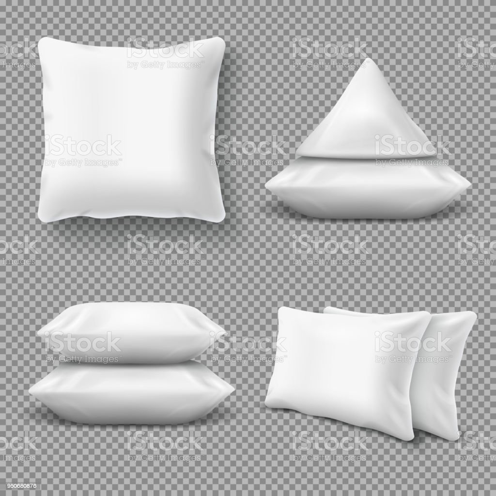 Realistic white comfortable pillows, home cushions with natural feather. Isolated vector mockup for bedding textile vector art illustration