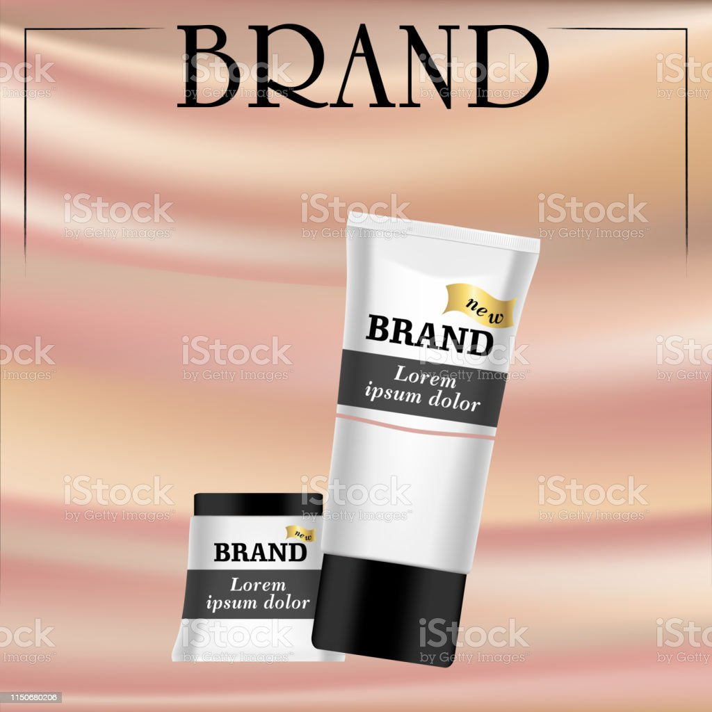 Realistic white cosmetic cream container and tube for cream. While...