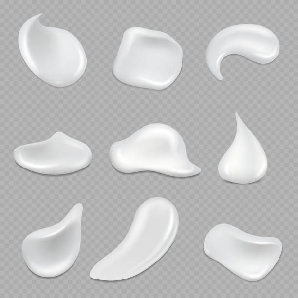 Realistic white cream strokes isolated on transparent background vector art illustration