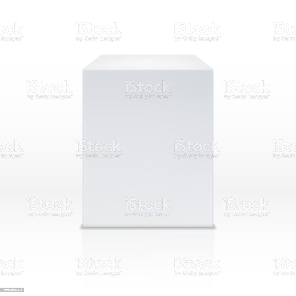 Realistic white cube box, 3d podium, blank pedestal vector illustration vector art illustration