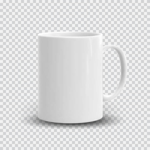 bildbanksillustrationer, clip art samt tecknat material och ikoner med realistiska vit kopp isolerad på transparent bakgrund. vector mall för mock up. vektorillustration - cup