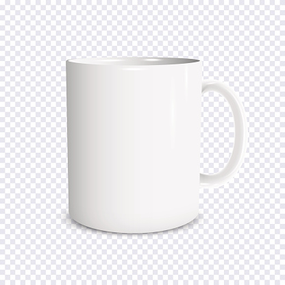 Realistic white cup isolated on transparent background