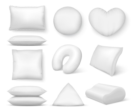 Realistic white cushion. Square comfort bed pillow, soft blank round cushions for sleep and rest. Vector 3D pillows isolated