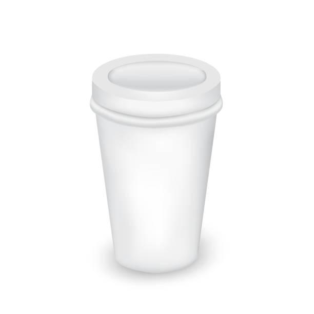 bildbanksillustrationer, clip art samt tecknat material och ikoner med realistiska vita papper kopp. för olika drycker, saft, färsk juice, kaffe, te eller glass. håna upp för varumärket mall. vektorillustration - coffe with death