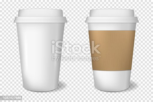 Realistic white disposable paper cup, isolated.