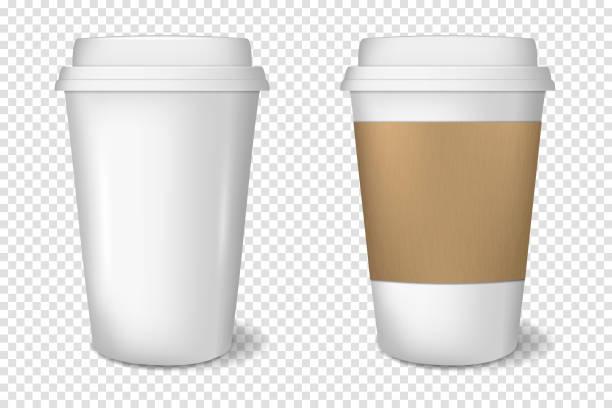 bildbanksillustrationer, clip art samt tecknat material och ikoner med realistiska vita papper kopp, isolerade. - kaffekopp