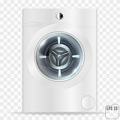 Realistic white front loading washing machine on a transparent background. Front view, close-up. Cosmic design. 3d realistic vector washer.