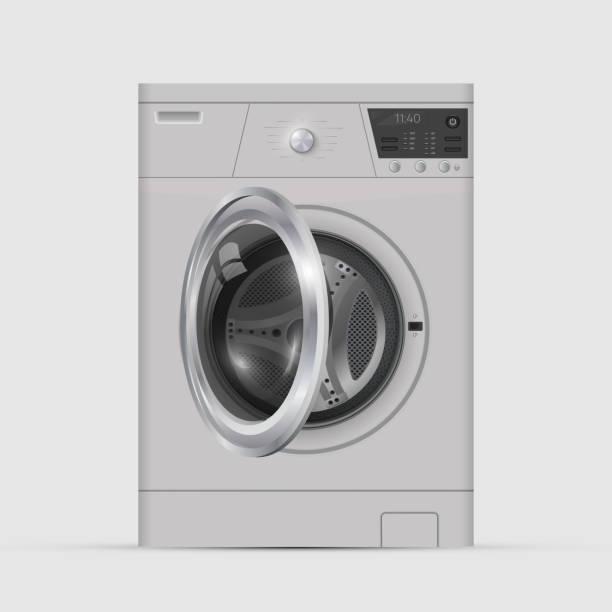 realistic white front loading washing machine on a white background. - washing machine stock illustrations, clip art, cartoons, & icons