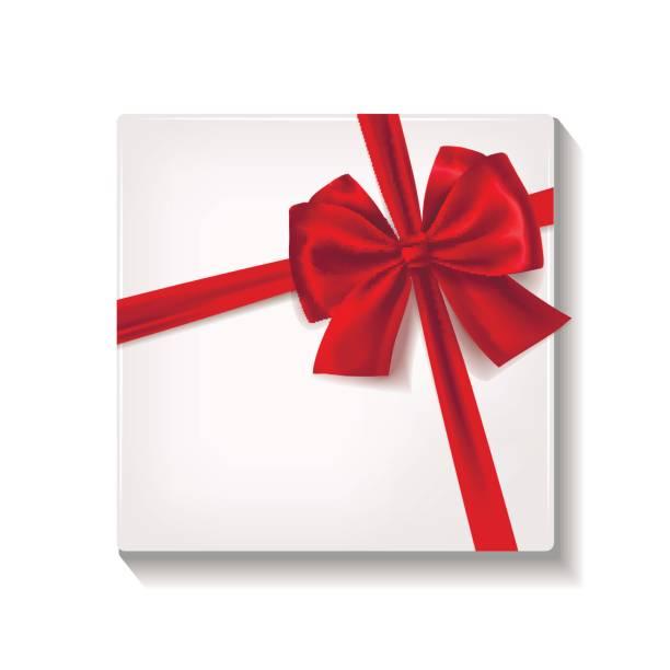 realistische weißen geschenkbox mit rotem satinband und schleife. - swag stock-grafiken, -clipart, -cartoons und -symbole