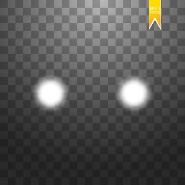 stockillustraties, clipart, cartoons en iconen met realistische witte gloed van ronde balken van auto koplampen, geïsoleerd tegen een achtergrond van transparante somberheid. vector heldere trein verlichting voor uw ontwerp. eenvoudig lichte flash - mist donker auto