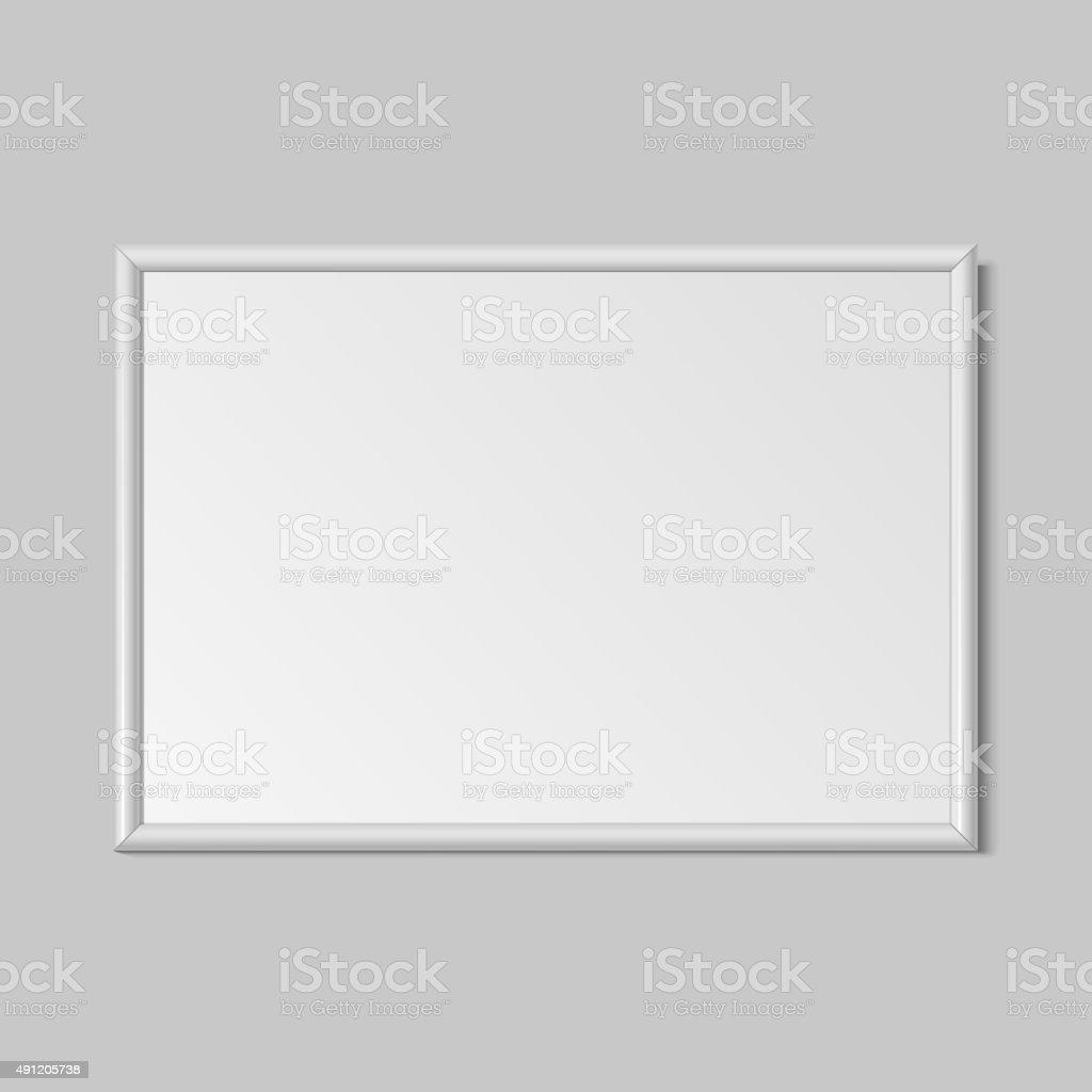 Realistic White horizontal frame for paintings vector art illustration