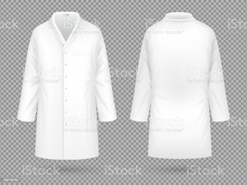 Realistic white medical lab coat, hospital professional suit vector template isolated