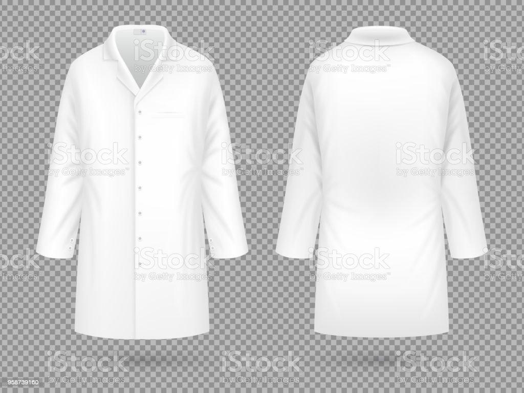 Capa del laboratorio médico blanco realista, plantilla de vector de traje profesional hospital aislado - ilustración de arte vectorial