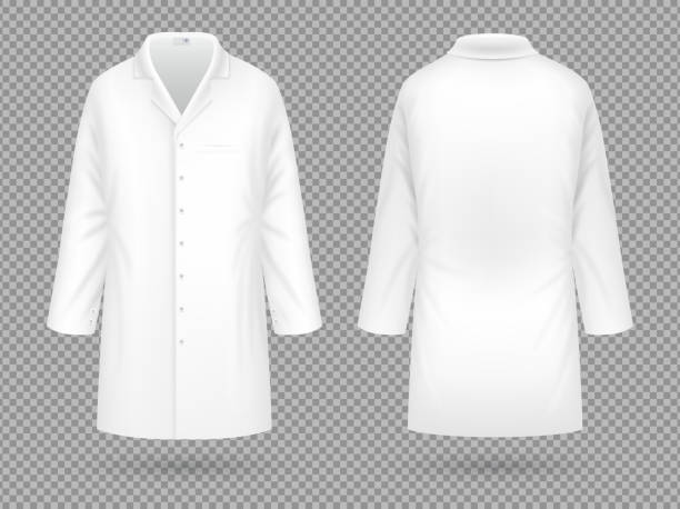 Realistic white medical lab coat, hospital professional suit vector template isolated vector art illustration