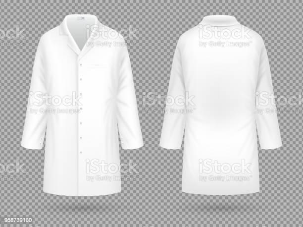 Realistiska Vit Medicinsk Labbrock Sjukhuset Professionella Kostym Vector Mall Isolerade-vektorgrafik och fler bilder på Abstrakt