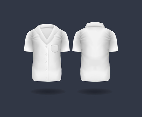 Realistic white medical T-shirt, lab uniform, doctor medical laboratory clothes, hospital professional suit isolated vector. Realistic doctor coat mockup.