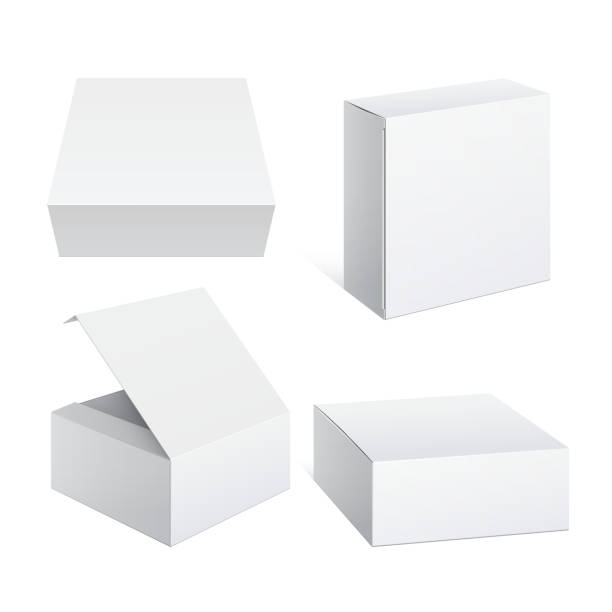 realistic white package cardboard box set - boxes stock illustrations, clip art, cartoons, & icons
