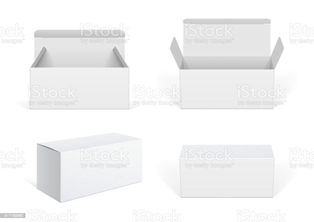 Realistic White Package Cardboard Box set