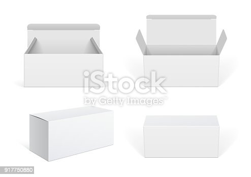 istock Realistic White Package Cardboard Box set 917750880