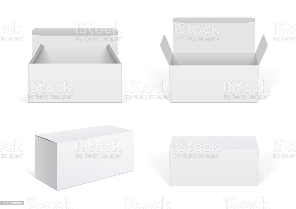 Realistic White Package Cardboard Box set vector art illustration