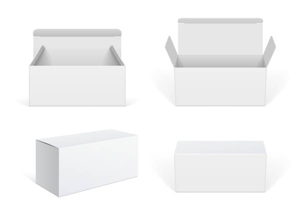 illustrazioni stock, clip art, cartoni animati e icone di tendenza di realistic white package cardboard box set - packaging