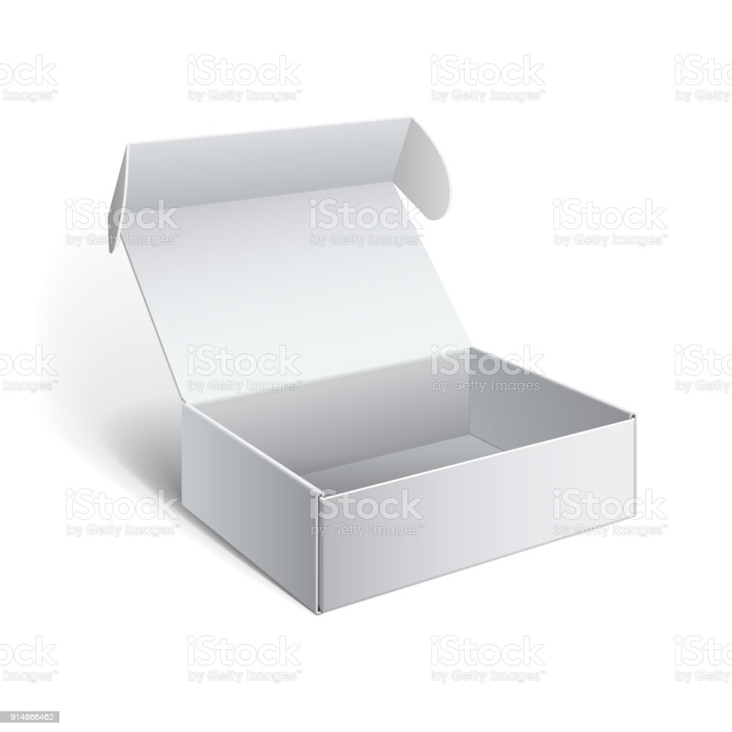 Realistic White Package Cardboard Box vector art illustration