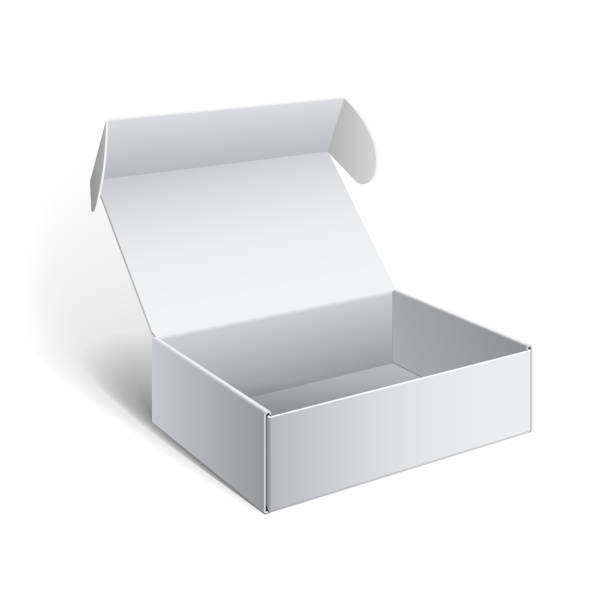 realistic white package cardboard box - karton zbiornik stock illustrations