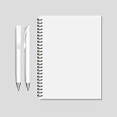 ПечатьRealistic white pen and spiral notepad mockup vector illustration.
