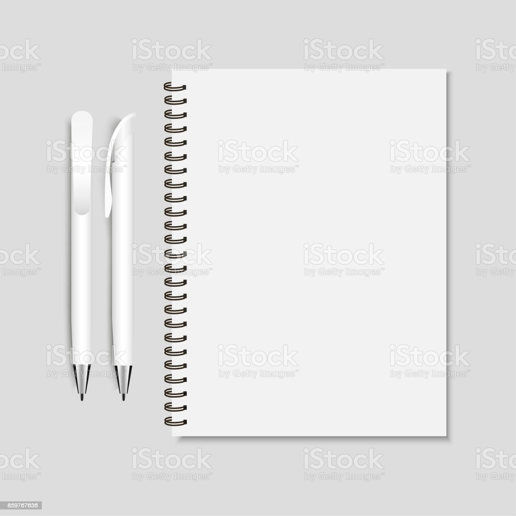 ПечатьRealistic white pen and spiral notepad mockup vector illustration. vector art illustration