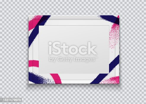 istock Realistic white photo frame painted with graffiti paint on a transparent background. Vector illustration. 1331479929