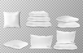 Realistic white pillows side en top view combinations mockup set transparent background vector illustration