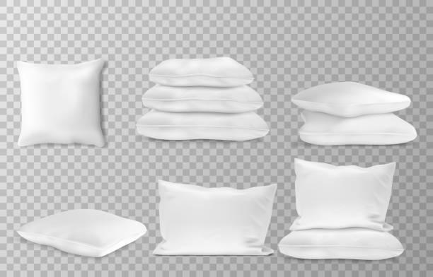 realistische weiße kissen seite und oben ansicht kombinationen mockup set transparente hintergrund vektor illustration - stapelbett stock-grafiken, -clipart, -cartoons und -symbole