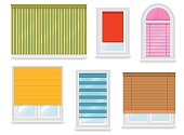 Realistic white plastic windows set with different blinds. Vector illustration.