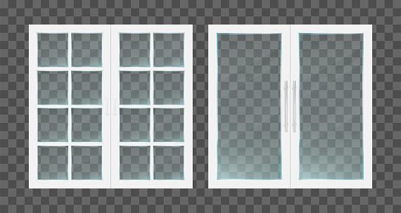 Realistic white pvc transparent glass doors with metallic handles. Vector illustration.