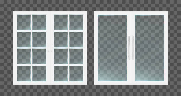 ilustrações de stock, clip art, desenhos animados e ícones de realistic white pvc transparent glass doors with metallic handles. vector illustration. - isolated house, exterior