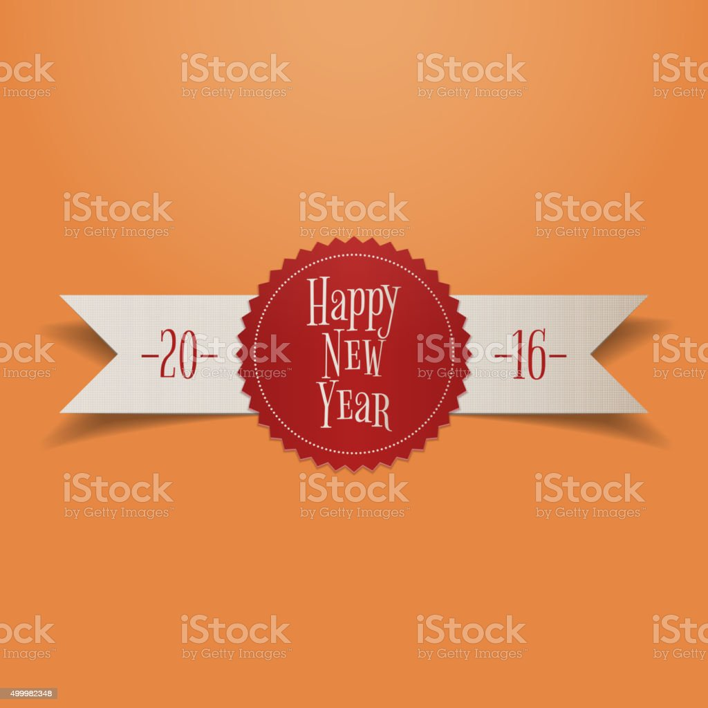 realistic white ribbon with red new year label royalty free realistic white ribbon with red