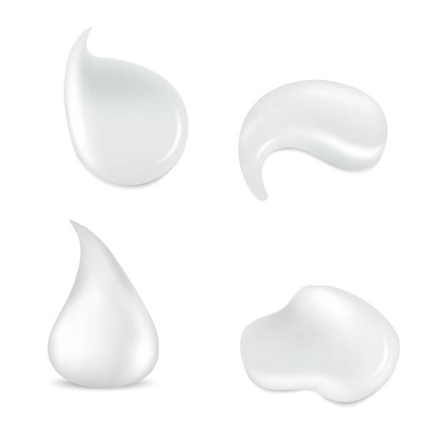 Realistic white skin cosmetic cream vector set. White cream for skincare, fresh cream product illustration vector art illustration