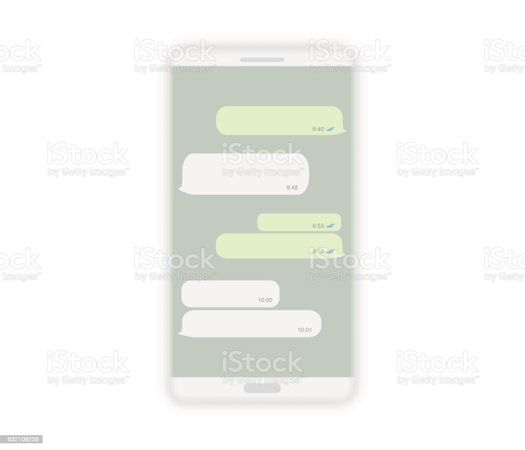 Realistic white smartphone mockup isolated on white, vector illustration. vector art illustration