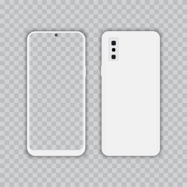 Realistic white smartphone with transparent screen. Front and back view, Vector. Realistic white smartphone with transparent screen. Front and back view, Vector cyborg stock illustrations