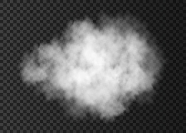 Realistic white  smoke cloud  isolated on transparent background. vector art illustration