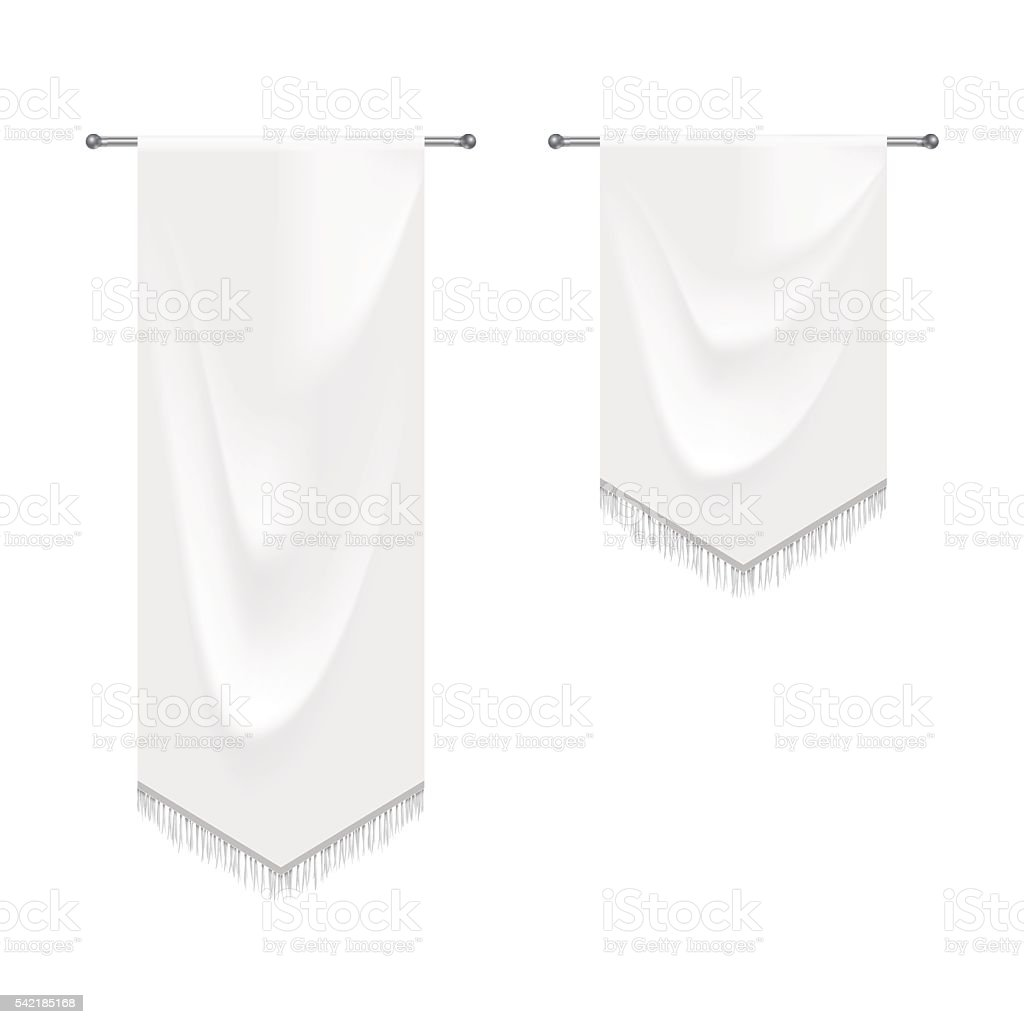 Realistic white textile banners with folds vector art illustration