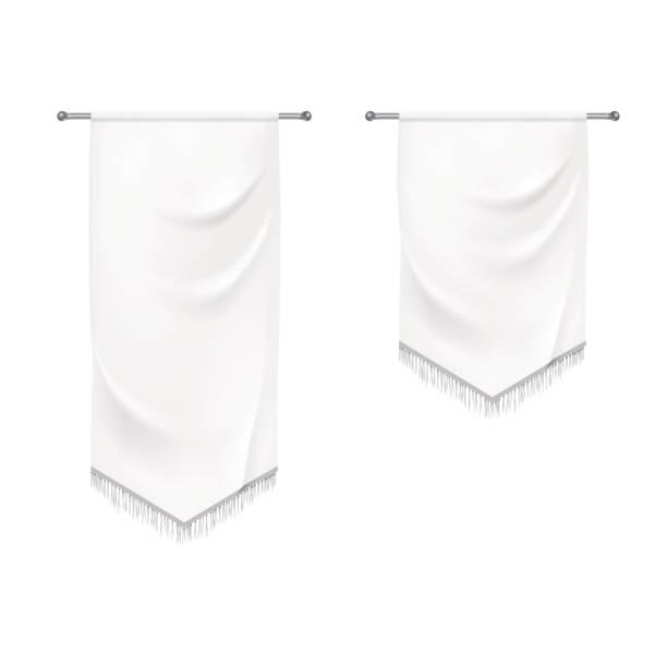 реалистичные белые текстильные баннеры со складками - средневековье stock illustrations