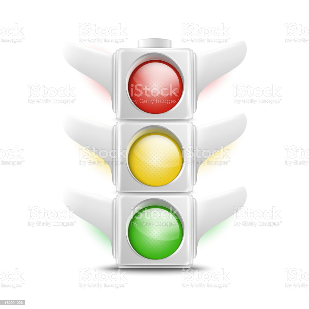 Realistic White Traffic Lights Icon royalty-free stock vector art