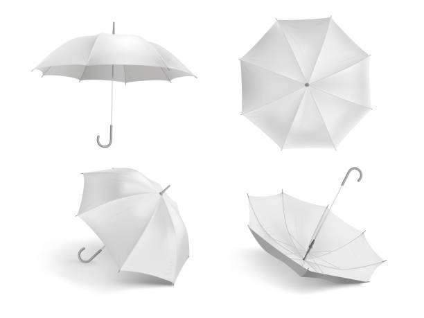 illustrazioni stock, clip art, cartoni animati e icone di tendenza di realistic white umbrella mockup. blank open fabric parasol, outdoor weather waterproof umbrellas vector template set - mockup outdoor rain