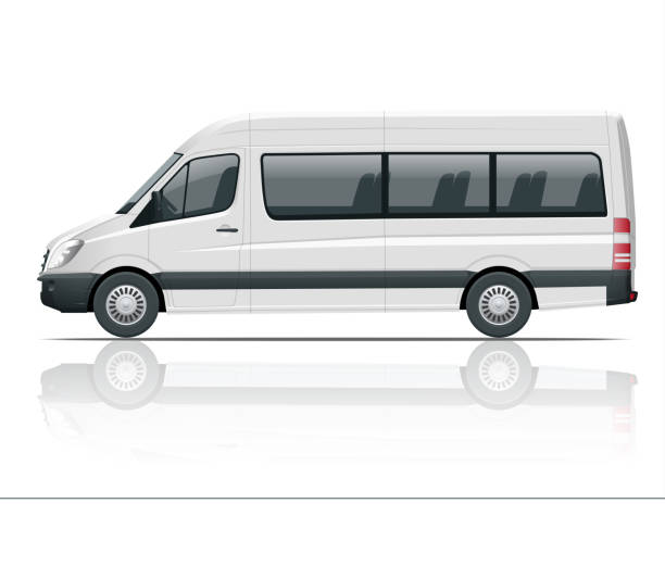 Realistic White Van template Isolated passenger mini bus for corporate identity and advertising. View from side. Realistic White Van template Isolated passenger mini bus for corporate identity and advertising. View from side. Vector illustration passenger stock illustrations