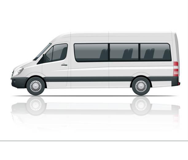 illustrations, cliparts, dessins animés et icônes de réaliste van blanc modèle isolé mini autocar pour identité visuelle et la publicité. vue de côté. - passager