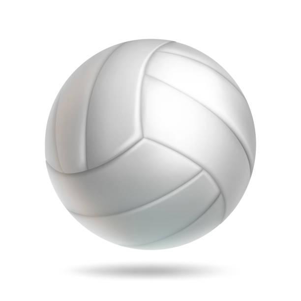 ilustrações, clipart, desenhos animados e ícones de objeto de bola de vôlei branco realista - voleibol