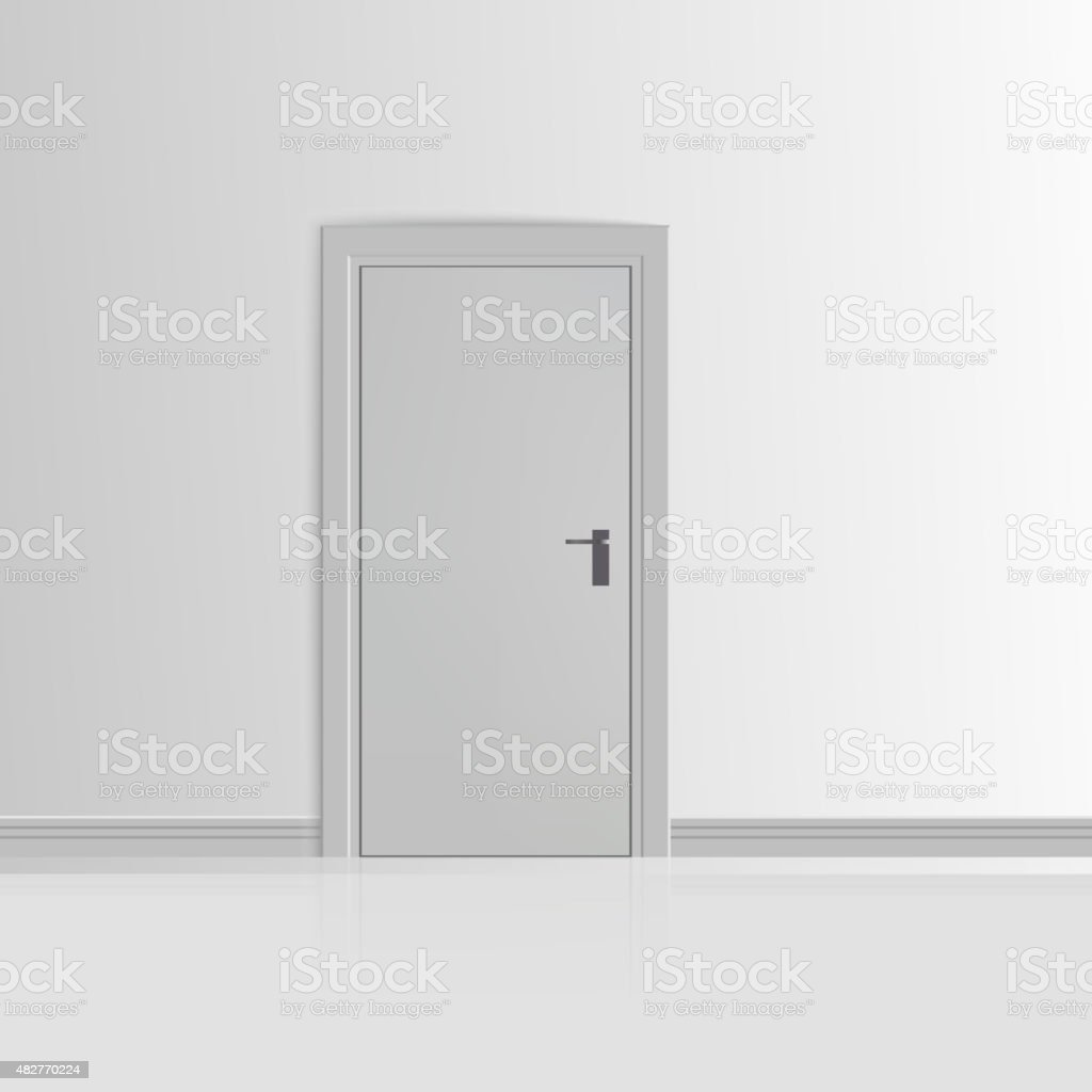 Realistic White Wall with Door Vector vector art illustration