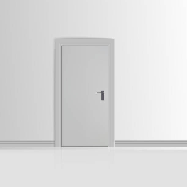Realistic White Wall with Door Vector Realistic White Wall with Door Vector illustration door stock illustrations
